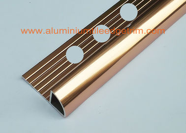 External Corner Aluminum Tile Trim Profiles 10mm Bright Brass Polished Coppper Color